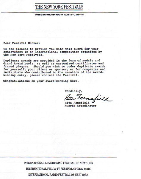 NYFilmFestival_AwardLetter Template Award Letter To Finalist on award stamp, award medallions, award nomination form, award stand, award ceremony speech sample, award recognition write letter, award recognition sample letters, award frame, award display, award outline, award designs, appraisal template, award paper, award wording samples, award letter layout, award goes to, award of contract notice letter, award base, official transcript template, cosigner template,